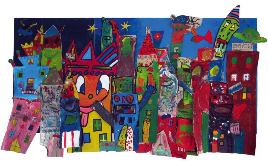 Dieses Gesamt-Kunstwerk ist entstanden durch die Einzel-Kunstwerke mehrerer junger Menschen, die diese im Rahmen ihrer kunsttherapeutischen Fachdienststunden im Kinderhaus Kai Riem geschaffen haben.